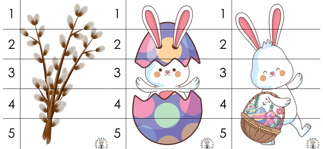Wielkanoc: Puzzle 5 elementów (10 kart pracy)