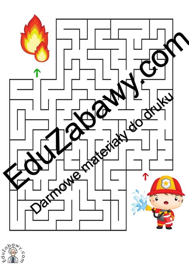 Labirynty: Strażak (10 kart pracy) Dzień Strażaka Karty pracy Karty pracy (Dzień Strażaka) Labirynty