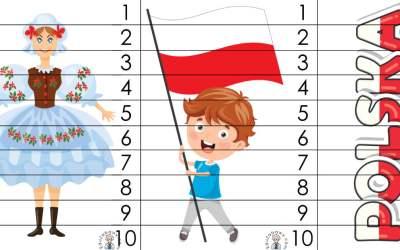 Patriotyczne Puzzle 10 elementów (10 kart pracy)
