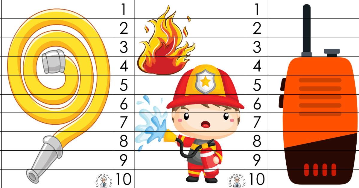 Strażak: Puzzle 10 elementów (10 kart pracy)