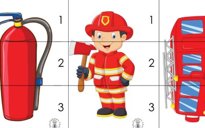 Strażak: Puzzle 3 elementy (10 kart pracy)