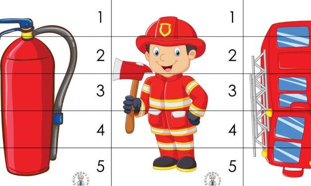 Strażak: Puzzle 5 elementów (10 kart pracy)