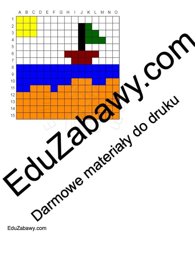 Kodowanie / Dyktando graficzne na Lato Dyktando graficzne Karty pracy Karty pracy (Lato)