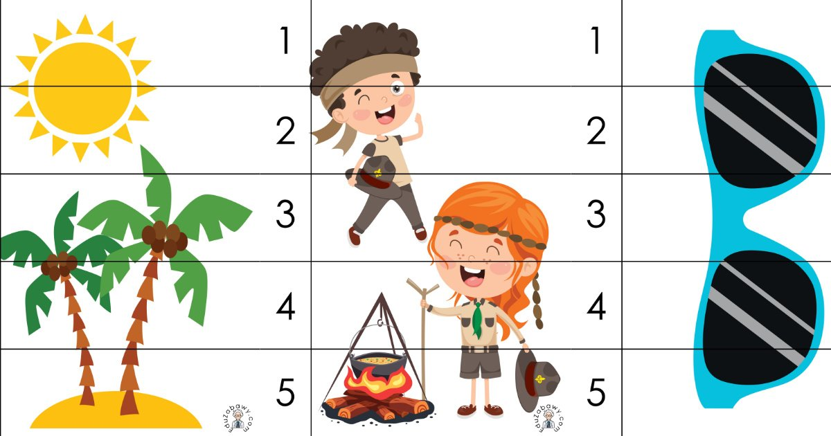Lato: Puzzle 5 elementów (10 kart pracy)