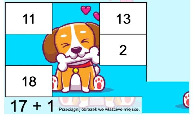 Gra online: Puzzle matematyczne: Psy