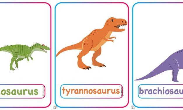 Plansze dydaktyczne po angielsku: Dinozaury