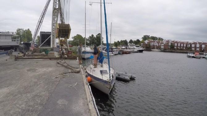 Moored at Kingston Marina to get hauled out