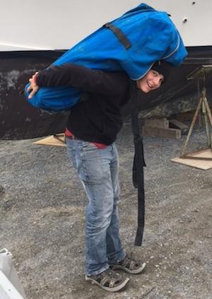 Elisha, loading the dingy