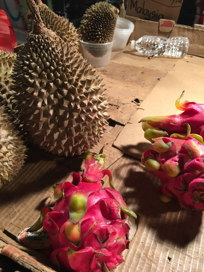 Durian and dragon fruit