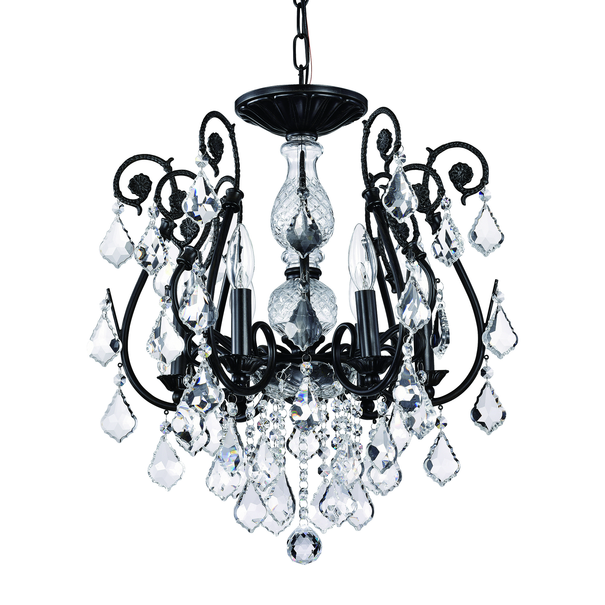 6 Light Antique Black Finish Chandelier Wrought Iron