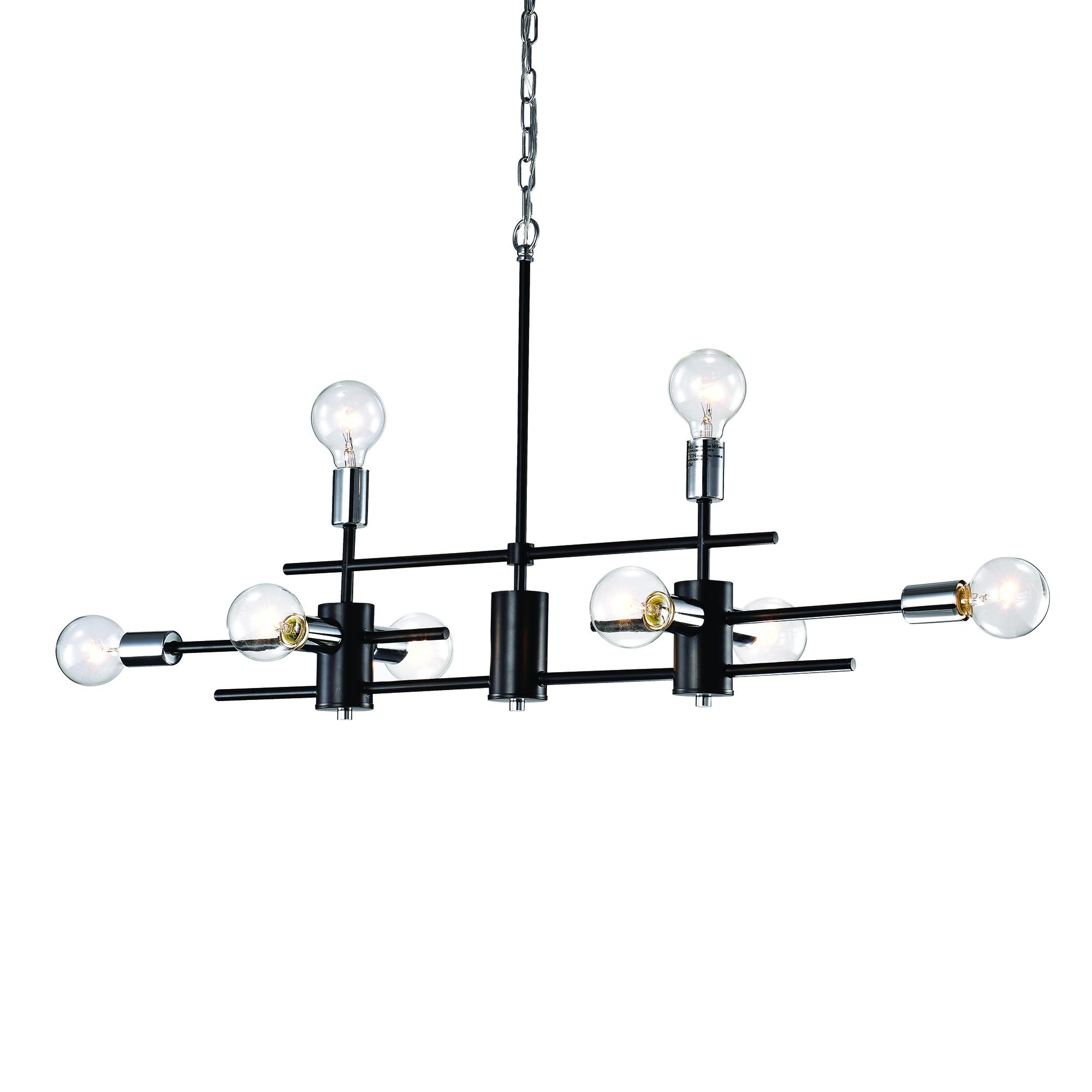8 Light Black And Chrome Exposed Bulb Linear Chandelier
