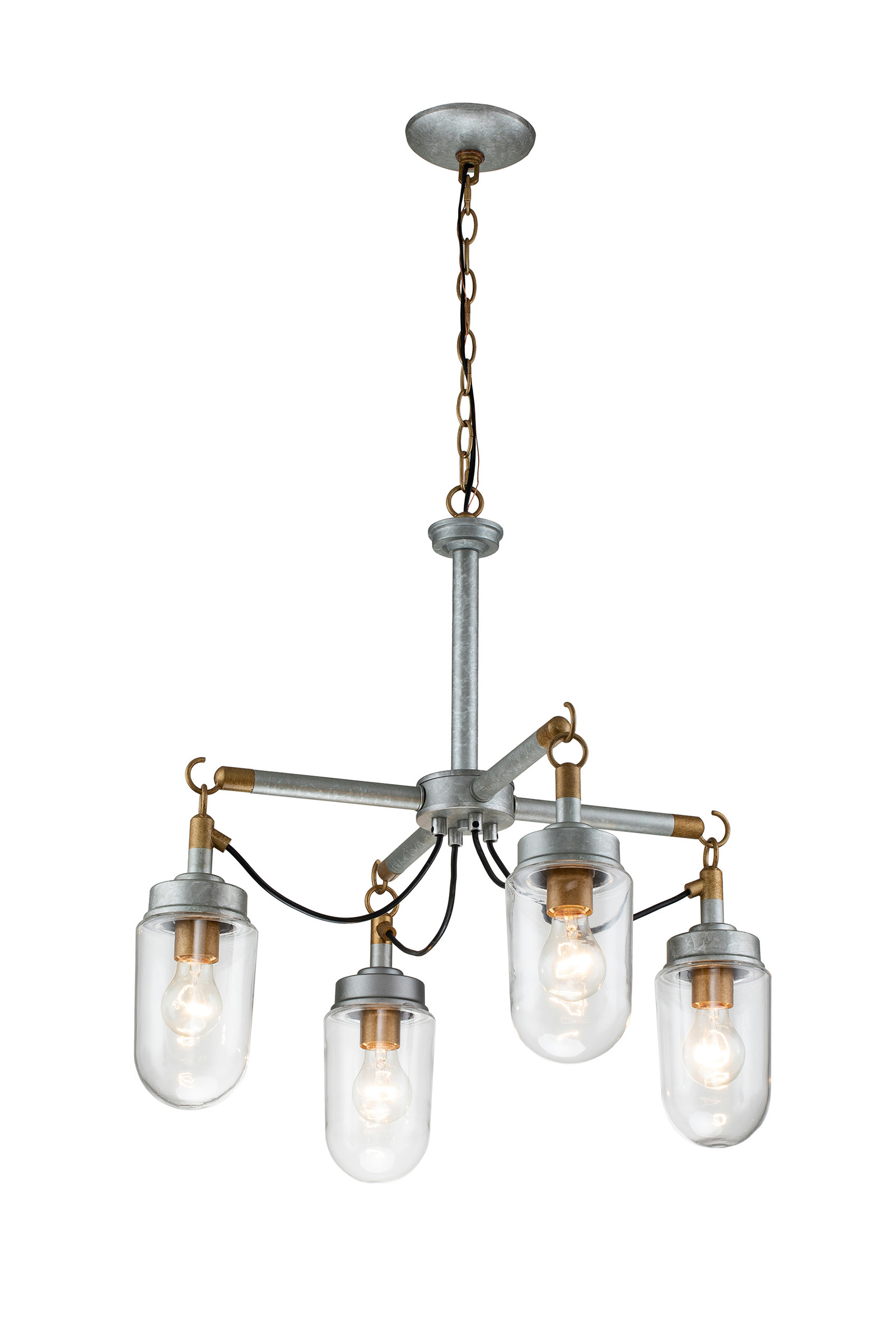 4 Light Gold And Vintage Silver Finish Industrial Style
