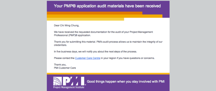 PMP audit material received