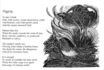Digging Poem by Edward Thomas with original wood engraving by Yvonne Skargon
