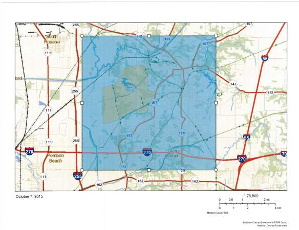 GIS Map of Edwardsville Township with the township shaded in a transparent blue color to mark boundaries. A zoomed in image.
