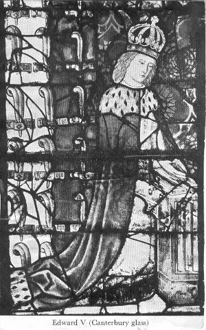 Edward V from a contemporary family portrait in glass in Canterbury Cathedral
