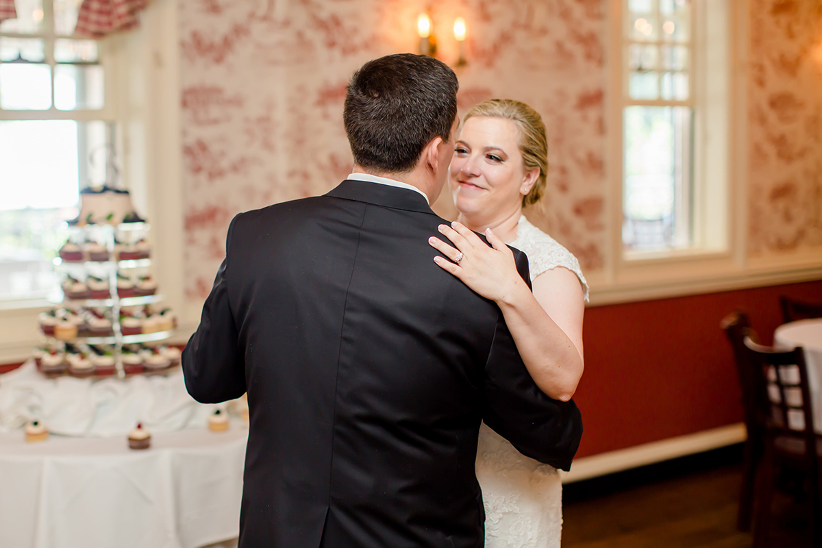Bride and Groom slow dance with DC Wedding and Event DJ at Mt Vernon in the background!