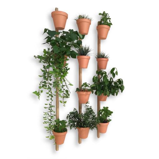 support mural en bois pour pots de fleurs xpot 4 encoches