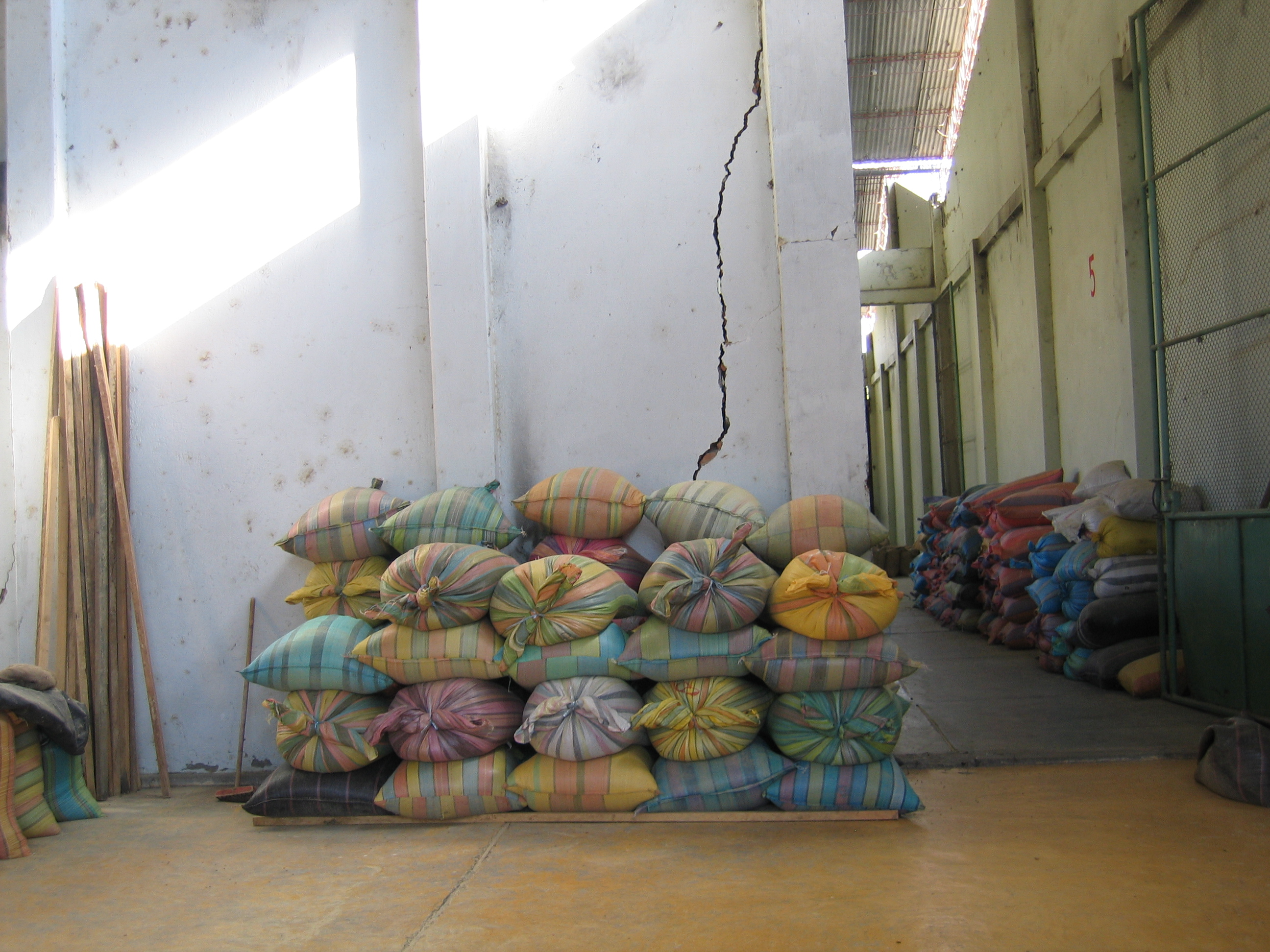 Coffee sacks at the mill