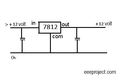 ic 7812 voltage regulator pin and circuit explained rh eeeproject com Voltage Regulator Circuit 7812 Regulator