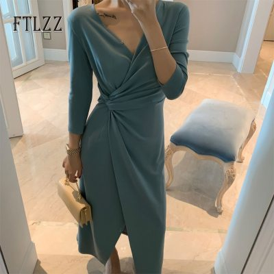 Elegant ladies v neck long robe vestidos mujer 2019 new autumn slim 3/4 sleeved Irregular knitted dress women vintage dresses