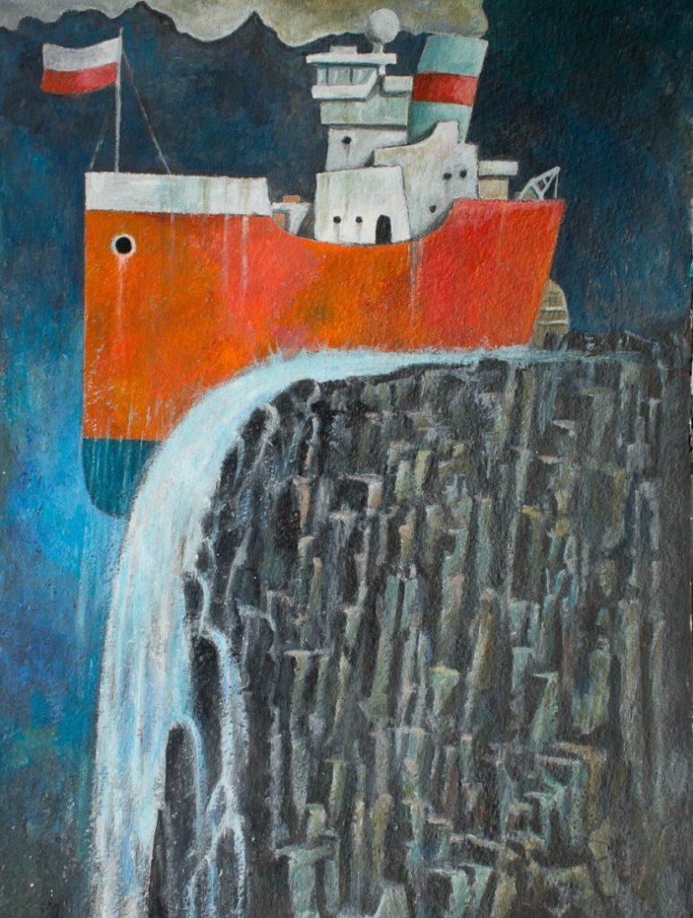 Schilderij van schip op de rand van een waterval - door Eelco Bruinsma 2016, acryl op papier