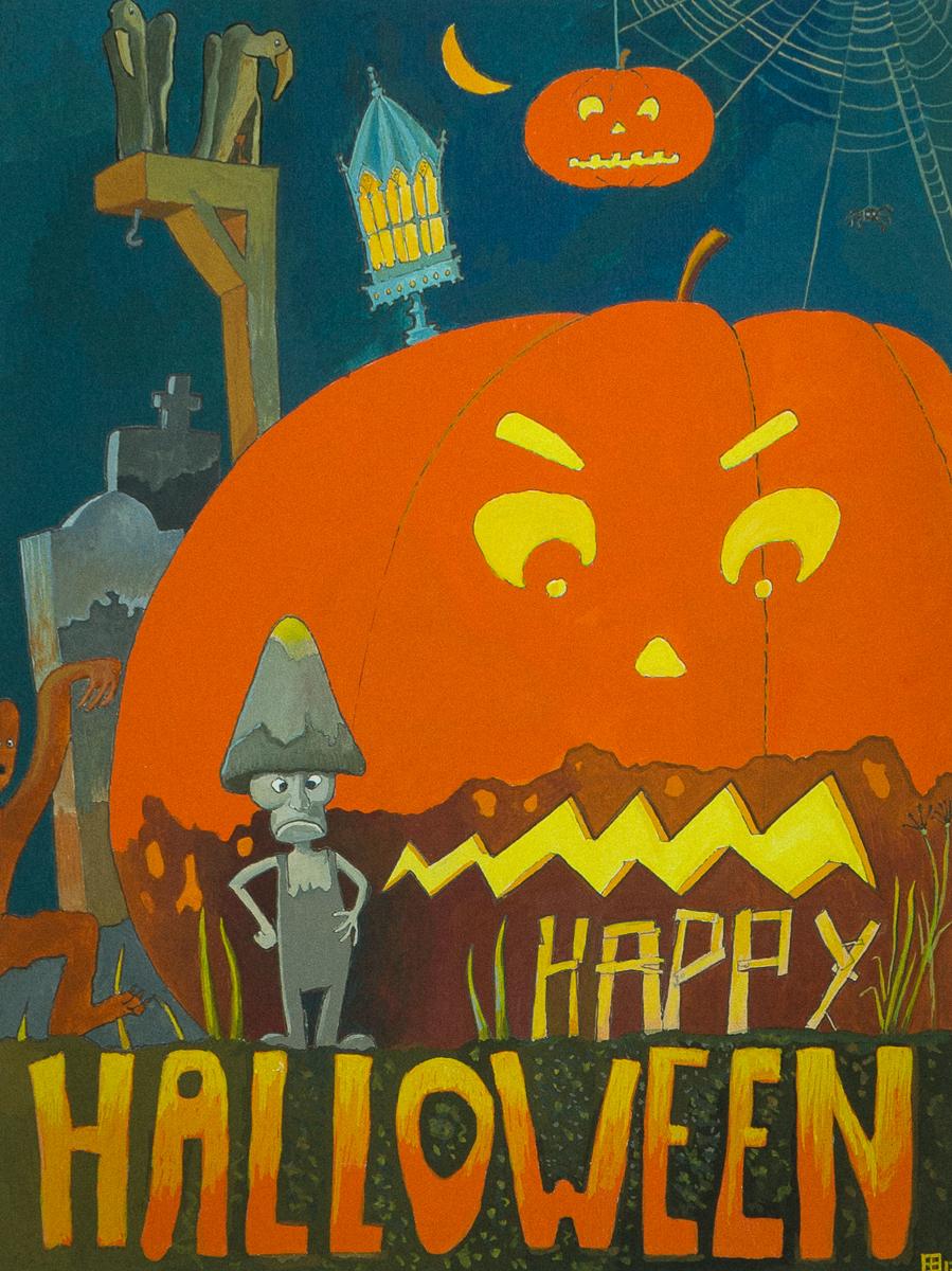 Happy Halloween! Gouache door Eelco Bruinsma, oktober 2017