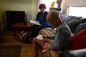 Her teacher from Augustus H. Shaw Montessori, Leisla Church, comes to her family's home in Phoenix three times a week to give her lessons and review homework.