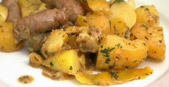 Venkelworstjes met gebakken aardappelen