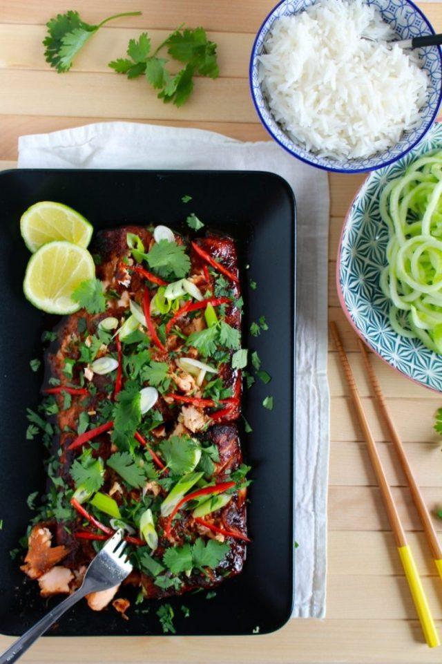 Gegrilde zalm met Aziatische smaakmakers / www.eenlepeltjelekkers.be