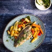 Zeebaars met geroosterde groenten