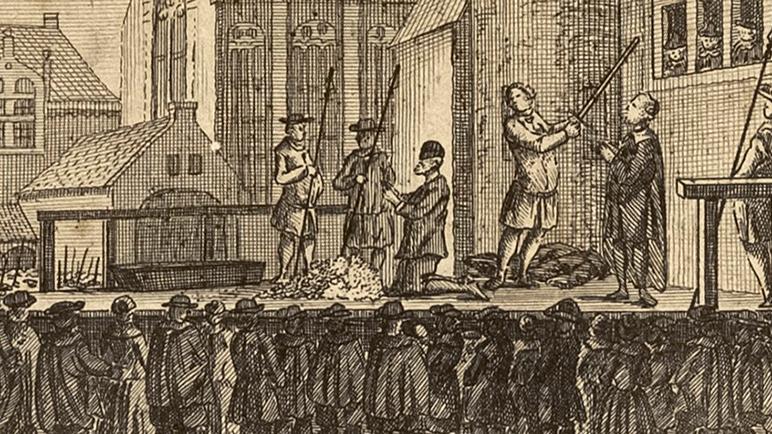 Ukiran tembaga dari peristiwa eksekusi mati Johan Van Oldenbarnevelt. Pak Johan sangat berpengaruh pada masa itu karena ia memiliki banyak Uang yang sanggup membebaskan rakyat Belanda dari pengangguran dan bencana kelaparan. Ia juga
