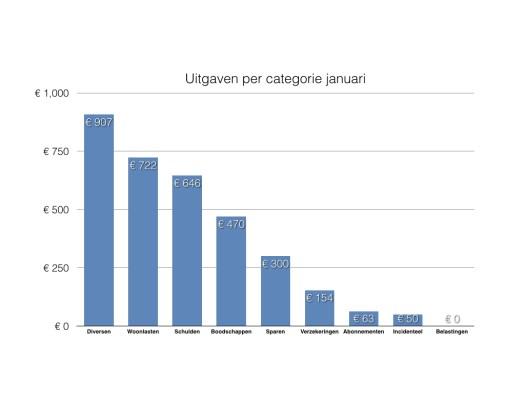 Staafdiagram van mijn uitgaven opgedeeld in categorieën over de maand januari. No spend month.