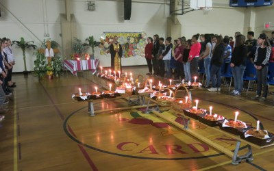 Easter Basket blessing, Saint Kevin Catholic Junior High School, Edmonton, April 24.