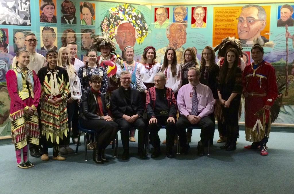 Ukrainian Bilingual Students and Aboriginal Students Gathered Together