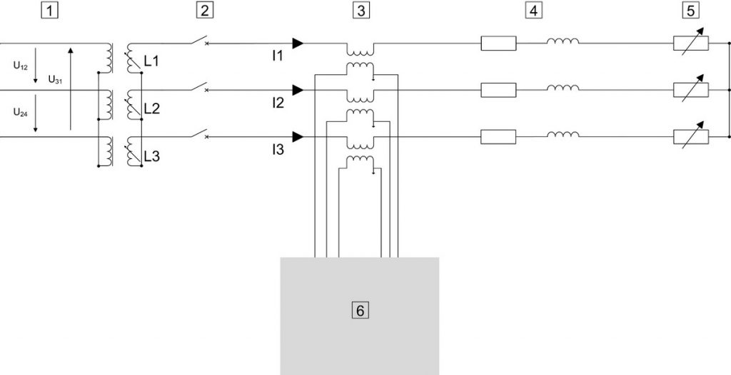 Circuit diagram of an overcurrent relay