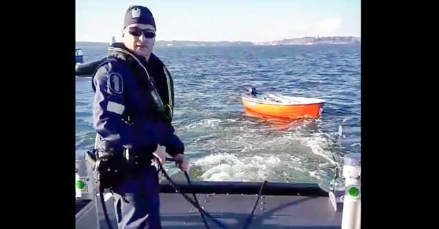 VIDEO: Helsingi politsei tõi merelt ära kahtlase paadi