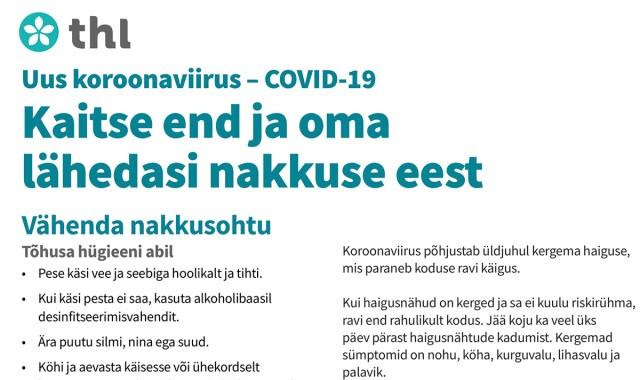 Soomes saadeti kodudesse laiali kirjad koroonaviiruse kohta, veebis on olemas kiri ka eesti keeles