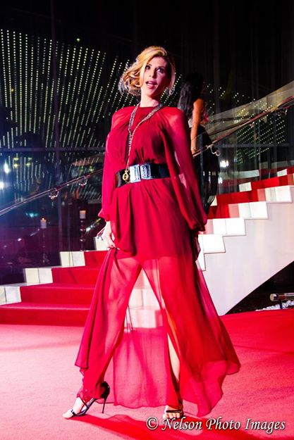 Lady in Red...Reality Star Alexis Bellino of the Real Housewives of Orange Country in a beautiful and dramatic flowy gown by Bri Seeley. Photo courtesy of Nelson Shen.