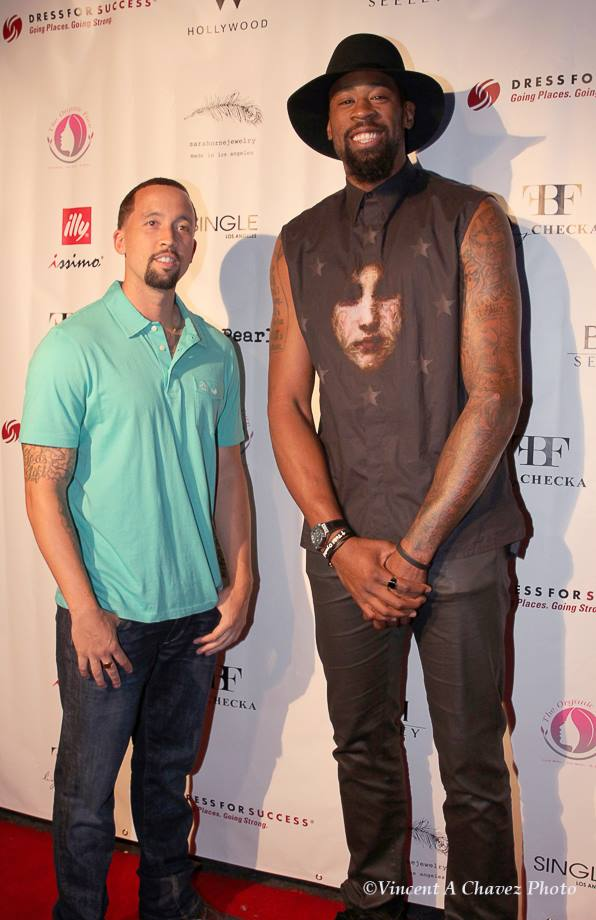 Los Angeles Clipper star player Deandre Jordan and his guest. Photo courtesy of Vincent A. Chavez Photography