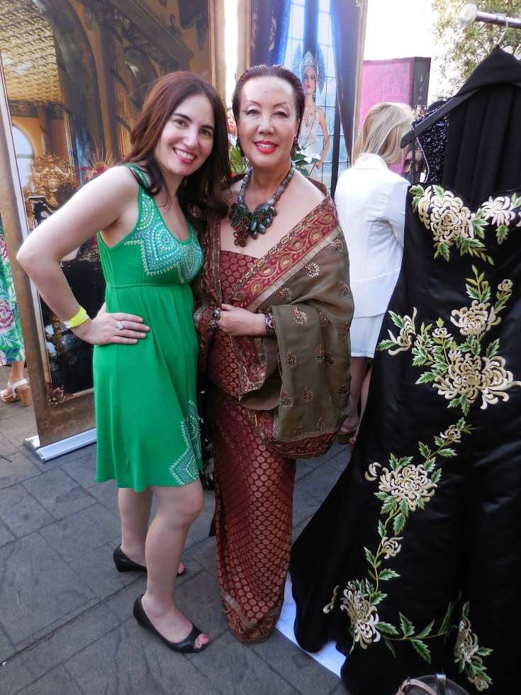 "With the lovely Sue Wong, one of my favorite designers on the planet with one of her dresses. Ever the perfectionist, Sue kept telling me, ""Vida, please stand beside the dress, as it has green it in like your dress. It'll look nice. I'm very visual you know."""