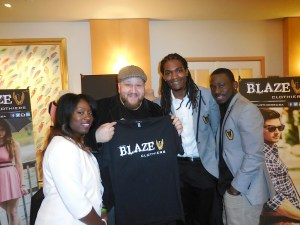 Actor Stephen Kramer Glickman with the founders of Blaze Clothing