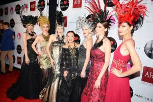 Mythical goddesses...Sue is flanked by her models on the red carpet
