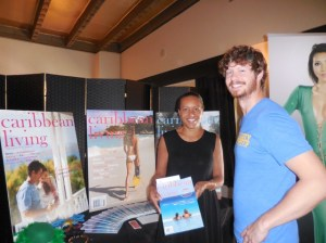 Pita Phipps, editor-in-chief of Caribbean Living Magazine with actor Anders Holm of Workaholics