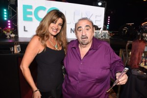 Sherry Mattia of STAGE Men's collection and Glamarella JUNK with actor Ken Davitian (Borat).