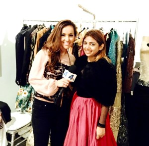Annette Areola from NBC Live interviewing fashion designer Sai Suman at the DPA Golden Globe gift suite