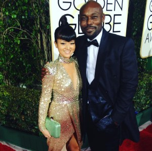 Jimmy Jean Louis dazzling with Sai Suman Couture on the red carpet with Hereos co star Kiki Sukezane at the 2016 Golden Globes