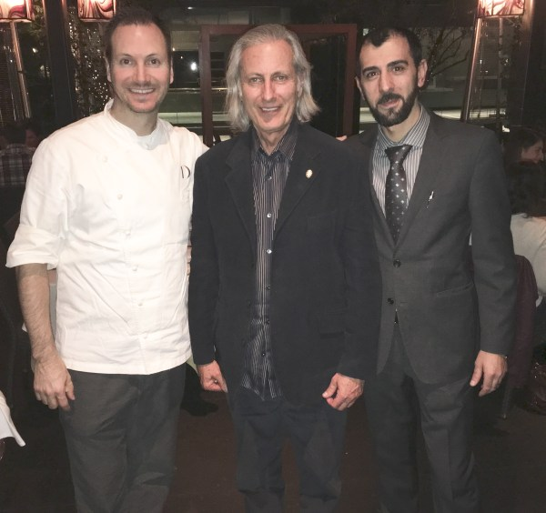 Chef de Cuisine Ian Gresik, Publisher Erwin Glaub and Assistant General Manager Vincenzo Porcu at Drago Centro in downtown Los Angeles. Photo courtesy D Brown