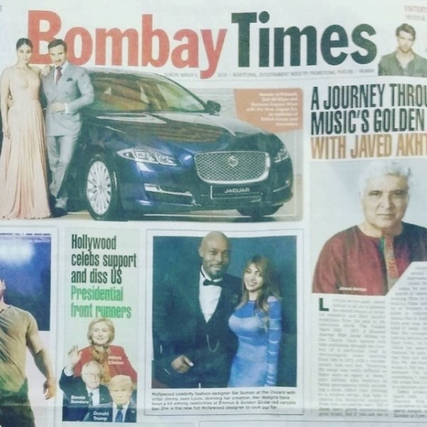 International fashion designer Sai Suman on the cover of the Bombay Times