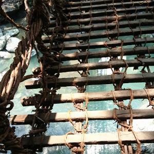祖谷のかずら橋を渡る